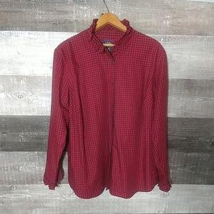 Ralph Lauren Chaps Denim plaid ruffle button shirt